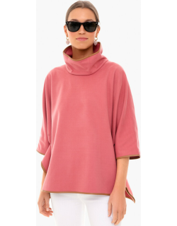 Peony Leather Trim Funnel Neck Piper Poncho