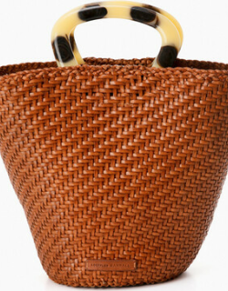 Timber Brown Woven Fan Tote