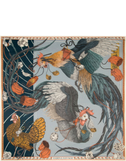 Denim Rooster's Dance Square Scarf