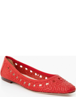 Cherry Red Maura Woven Leather Ballet Flats