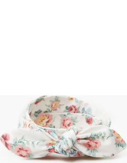White Floral Helena Woven Bow Belt