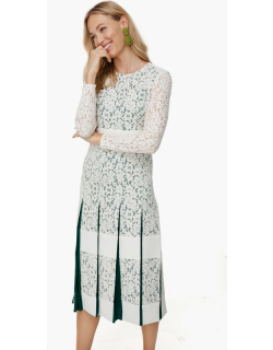 New Ivory Pleated Lace Dress