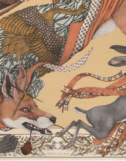 Gold Cunning Kitsune Square Scarf