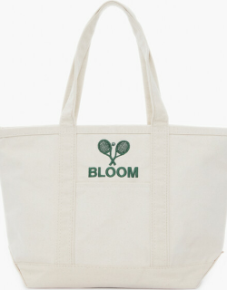 Natural Embroidered Tennis Racket Boat Tote