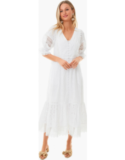 White Floral Broderie Anglaise Midi Dress