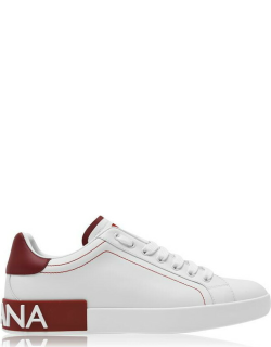 Dolce and Gabbana Logo Low Top Trainers - White/Red 89926