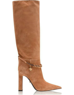 VERSACE Chain Knee High Boots - Cmel/Oro 1K26V