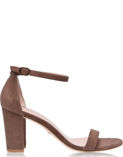 STUART WEITZMAN Nearly Nude Suede Heeled Sandals - Taupe