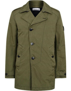 STONE ISLAND Button Trench Coat - Olive V0058