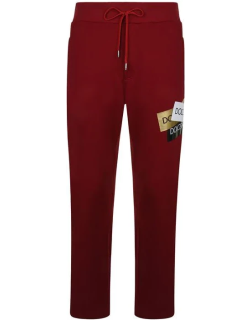 DOLCE AND GABBANA Logo Stamp Jogging Bottoms - Red R3484