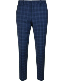 Hugo Checked Wool Suit Trousers - Bright Blue 433