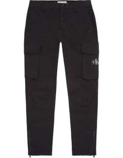 Calvin Klein Jeans Badge Washed Cargo Trousers - CK Black