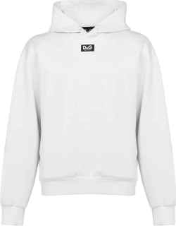 Dolce and Gabbana Leather Logo Oth Hoodie - Nat White W0001