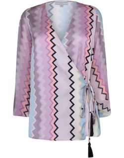 Never Fully Dressed Zag Wrap Top - Multi