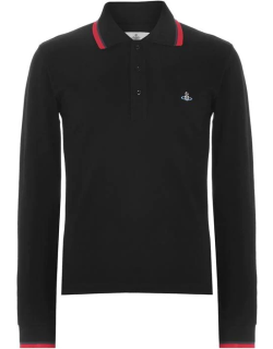 VIVIENNE WESTWOOD Tipped Long Sleeve Polo Shirt - Black 900