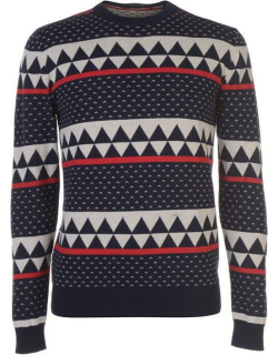 SCOTCH AND SODA Patterned Knitted Jumper - Navy/Red/Wht