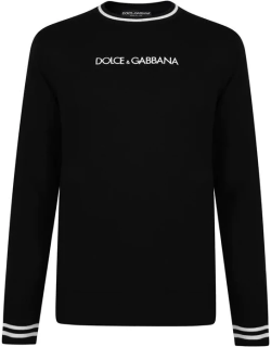 DOLCE AND GABBANA Linea Crew Knitted Jumper - Black N0000