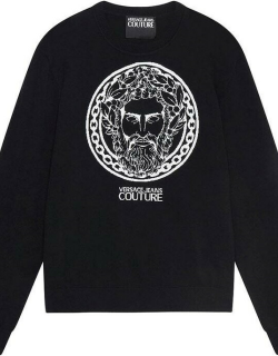 Versace Baroque Head Intarsia Knitted Sweater - BLACK