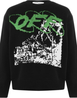 OFF WHITE Ruined Factory Knit Jumper - Blck/White 1001
