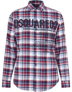 DSQUARED2 Text Check Shirt - Red 001F