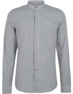 PS Paul Smith Grandad Oxford Long Sleeve Shirt - Anthracite 75