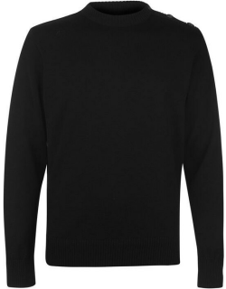 Paul And Shark Crew Neck Button Knitted Jumper - Black 011