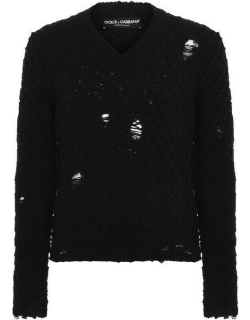 Dolce and Gabbana Cable Knit Jumper - Black N0000