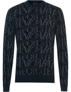 EMPORIO ARMANI All Over Logo Print Knitted Jumper - Blue F904