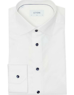Eton White Twill Navy Button and Piping Slim Fit Shirt - White