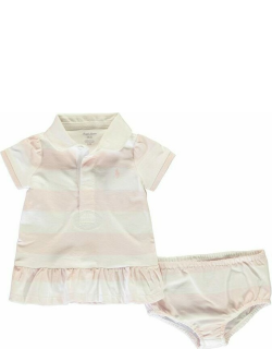 Polo Ralph Lauren Ralph Polo Rugby Dress Infant - Pink/White