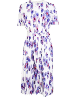 Boss Floral Pleated Dress - White Print 967