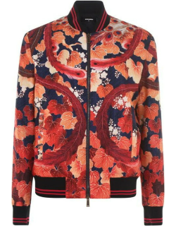DSQUARED2 Print Bomber Jacket - Blue/Red 001S