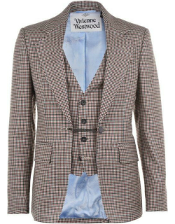 VIVIENNE WESTWOOD Wool Checked Waistcoat Jacket - Check 001F