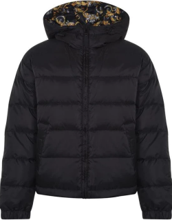 VERSACE JEANS COUTURE Reversible Baroque Puffer Jacket - Blk/Gld 899