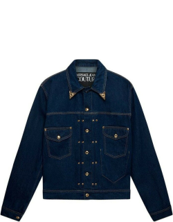 Versace Classic Carry Over Tipped Collar Denim Jacket - BLUE