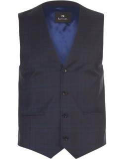 Paul Smith Tailoring Paul Mid Fit Checked Waistcoat Mens - Blue 49