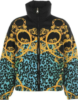 VERSACE JEANS COUTURE Reversible Leo Chain Puffer Jacket - Mint 155