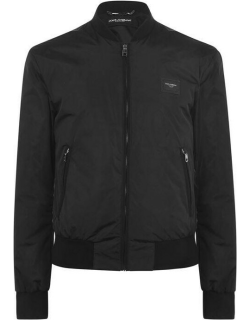 DOLCE AND GABBANA Rubber Plate Bomber Jacket - Black N0000