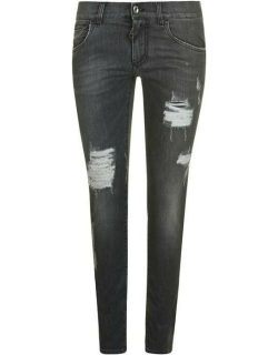 DOLCE AND GABBANA Ripped Super Skinny Jeans - Drk Grey S9001
