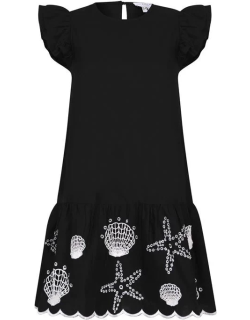 NEVER FULLY DRESSED Shell Embroidered Mini Dress - Black