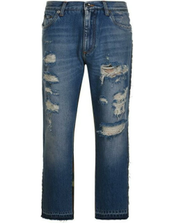 DOLCE AND GABBANA Distressed Camouflage Slim Jeans - Blue S9001