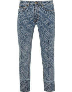 Versace Jeans Couture All Over Print Logo Jeans - Blue 904