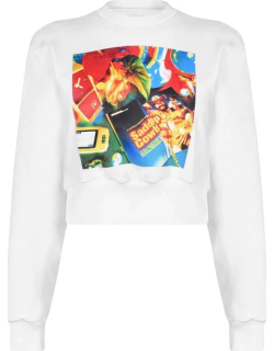 Opening Ceremony Print Crop Sweater - White Multi