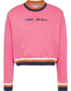 Tommy Jeans Crop Tipping Crew Sweater - BOTNICL PNK TIF