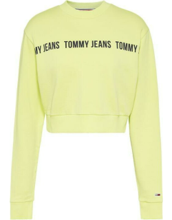 Tommy Jeans Crop Tape Crew - LT3 FADED LIME