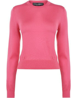 DOLCE AND GABBANA Crew Neck Solid Knitted Jumper - Rosa F0890