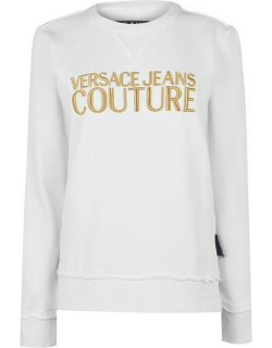 Versace Jeans Couture Contrast Logo Sweater - White/Gold K41