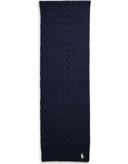 Polo Ralph Lauren Cable Knit Logo Embroidered Scarf - Hunter Navy