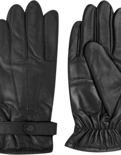 Barbour Burnished Leather Thinsulate Gloves - Black