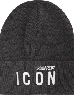 DSQUARED2 Icon Embroidered Beanie - Grey M1990